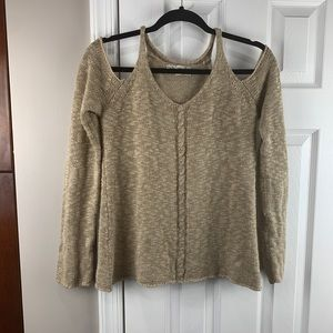Pink Republic Small Cold Shoulder sweater Tan